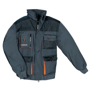 TERRATREND Herrenjacke Gr.58 dunkelgrau/schwarz/orange 65%PES/35%CO 270g/m2